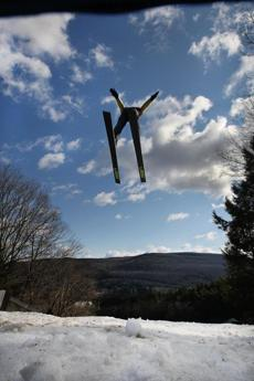 Ski jumpers can see clear to New Hampshire from the Harris Hill Ski Jump in Brattleboro, Vt.